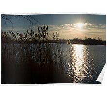 Winter Lake at Sunset Poster