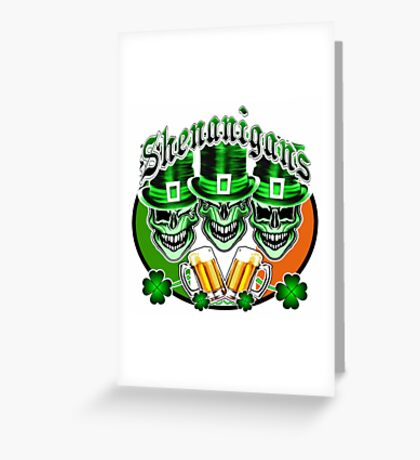 Laughing Irish Leprechaun Skulls: Shenanigans Greeting Card