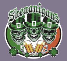 Laughing Irish Leprechaun Skulls: Shenanigans Kids Tee