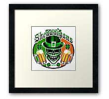 Funny Irish Leprechaun Skull Framed Print