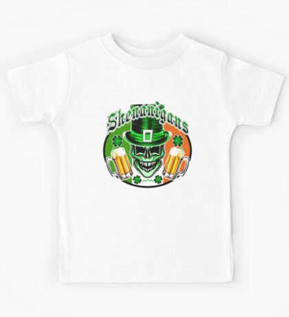 Funny Irish Leprechaun Skull Kids Tee