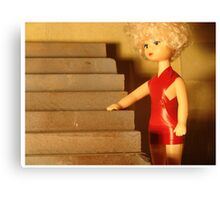 the little lady in red Canvas Print