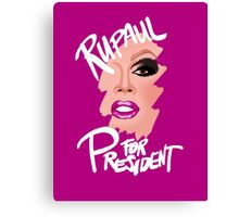 RuPaul for President- White Text Canvas Print