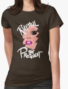 RuPaul for President- White Text Womens Fitted T-Shirt
