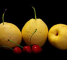Pears and cherries by jerry  alcantara