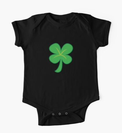 Green clover shamrock for St Patrick's day cute! One Piece - Short Sleeve