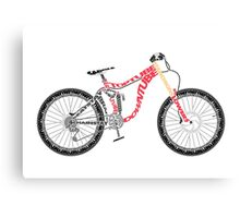 Typographical Anatomy of a Down Hill Bike Canvas Print