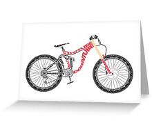Typographical Anatomy of a Down Hill Bike Greeting Card