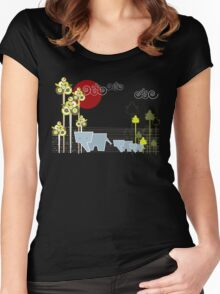 Ellephant Family In The Forest Women's Fitted Scoop T-Shirt
