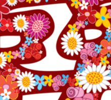 Spring Flowers Double Happiness Chinese Wedding Symbol Sticker