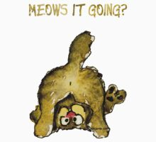 Meows It Going Cat Cartoon for Darks Kids Tee