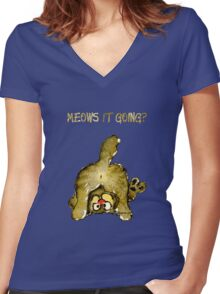Meows It Going Cat Cartoon for Darks Women's Fitted V-Neck T-Shirt