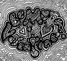 Be My Valentine Aussie Tangle Black & White by Heather Holland by Heatherian