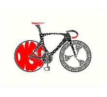 Typographic Anatomy of a Track Bike Art Print
