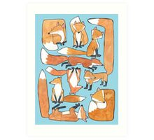 Foxes Collage Art Print