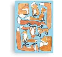 Foxes Collage Canvas Print