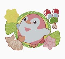 Pink Kawaii Penguin and Wagashi Kids Tee