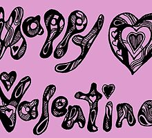 Happy Valentine 2  Aussie Tangle - Choose Your Own Background Colour by Heatherian