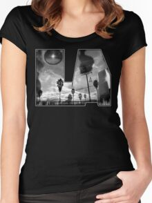 """""""L.A. is Burning"""" by Dusty Vinyl Design - Black and White version Women's Fitted Scoop T-Shirt"""