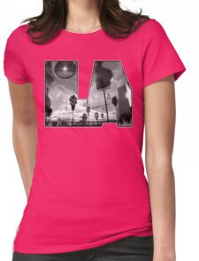 """""""L.A. is Burning"""" by Dusty Vinyl Design - Black and White version Womens Fitted T-Shirt"""