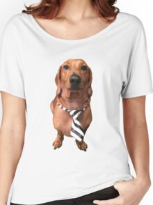 Dachshund Sausage Dog wearing tie Women's Relaxed Fit T-Shirt