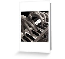 Soft Pads, Keyboard Player Oil Painting Greeting Card