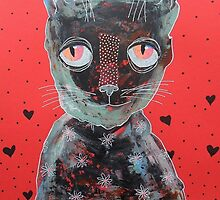 Cat With Big Red Eyes by Bea Roberts