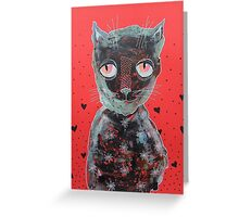 Cat With Big Red Eyes Greeting Card