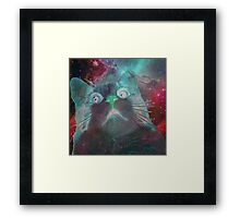 Space Galaxy Ghost Cat Thing Framed Print