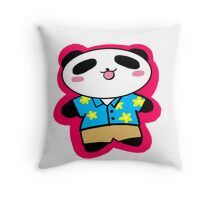 Panda on Holiday Throw Pillow