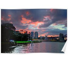 Fire In The Sky - Moods Of A City #34 - The HDR Series Sydney Australia Poster