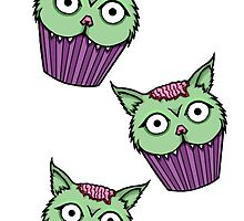 Zombie Cat Cupcake by NeonStarr