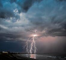 Summer beach lightning strike by DimondImages