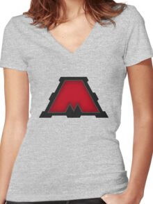 MegaCorp Red  - Ratchet & Clank Women's Fitted V-Neck T-Shirt