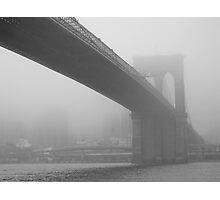 Brooklyn Bridge in the Midst of Fog Photographic Print