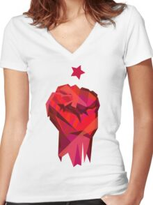 Rebel Fist Women's Fitted V-Neck T-Shirt