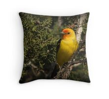 Western Tanager in Juniper Throw Pillow