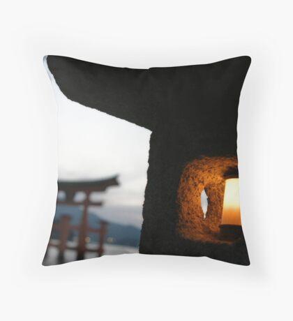 Miyajima night light Throw Pillow