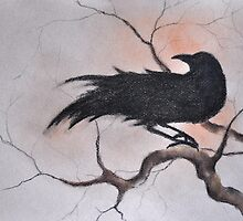 Crow on a Branch Sepia Black and White Drawing by ArtMK