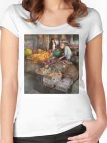 Storefront - Hoboken, NJ - Picking out fresh fruit Women's Fitted Scoop T-Shirt