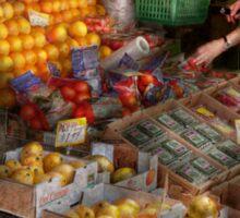 Storefront - Hoboken, NJ - Picking out fresh fruit Sticker