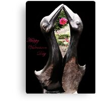 Kissing Birds With Rose (Valentines) Canvas Print