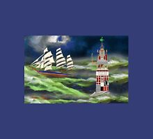 Eddystone Lighthouse and a Clipper Ship in a Stormy Sea Unisex T-Shirt