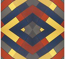 Red Yellow Blue Grey Kaleidescope by Craig Watson