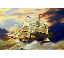 A digital painting of Paddle Steamer SS Savannah Photographic Print
