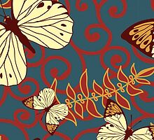 Butterflies, Insects, Swirls - Red Blue Brown  by sitnica