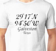 Galveston, Texas Coordinates Vintage Black Unisex T-Shirt