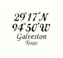 Galveston, Texas Coordinates Vintage Black Art Print