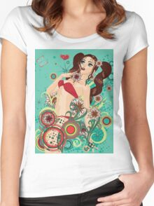Red bikini girl on emerald background Women's Fitted Scoop T-Shirt
