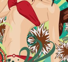Red bikini girl on emerald background Sticker